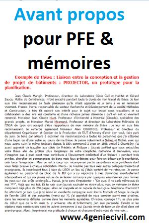 avant propos projet de fin d'etude, avant propos mémoire ...