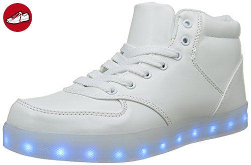 [Present:kleines Handtuch]High Top Weiß 41 EU Herren LED Sneaker Sportschuhe Aufladen Turnschuhe 7 Schuhe Unisex-Erwachsene Farbe weise für JUN G3yd5sU