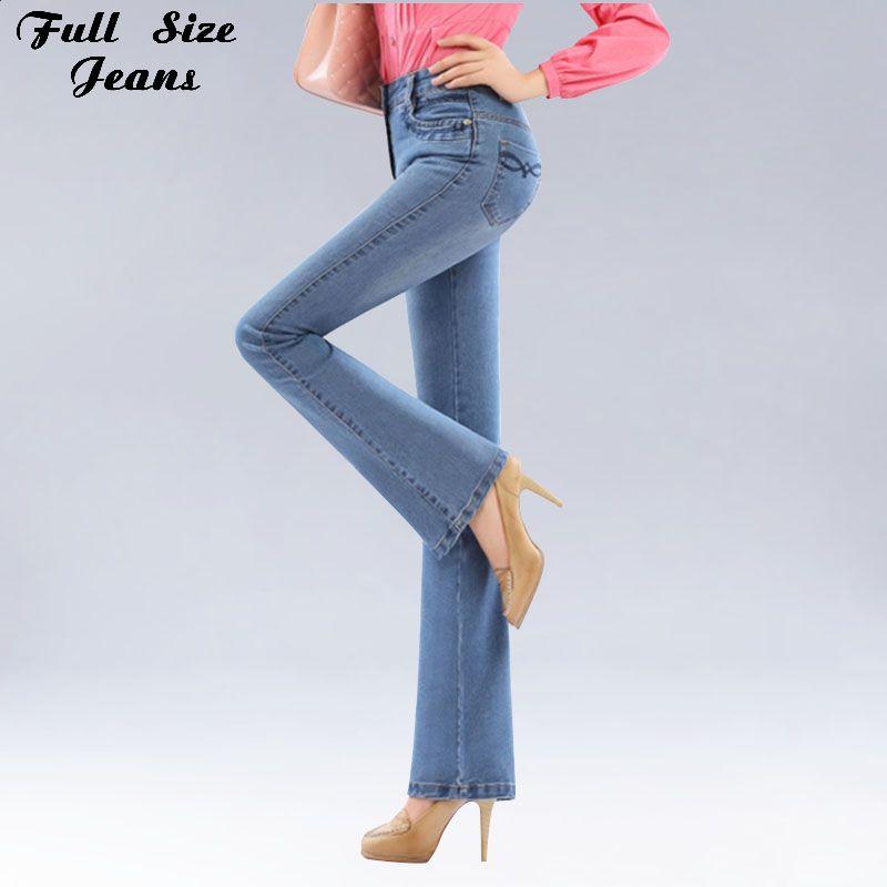 Autumn High Waist Flare Jeans Pants Plus Size Stretch Skinny Jeans Women Wide Leg Slim Hip Denim Boot Cuts Xxxl Xxs 4Xl 5Xl 6Xl //Price: $49.00 & FREE Shipping //    #look #black #moda