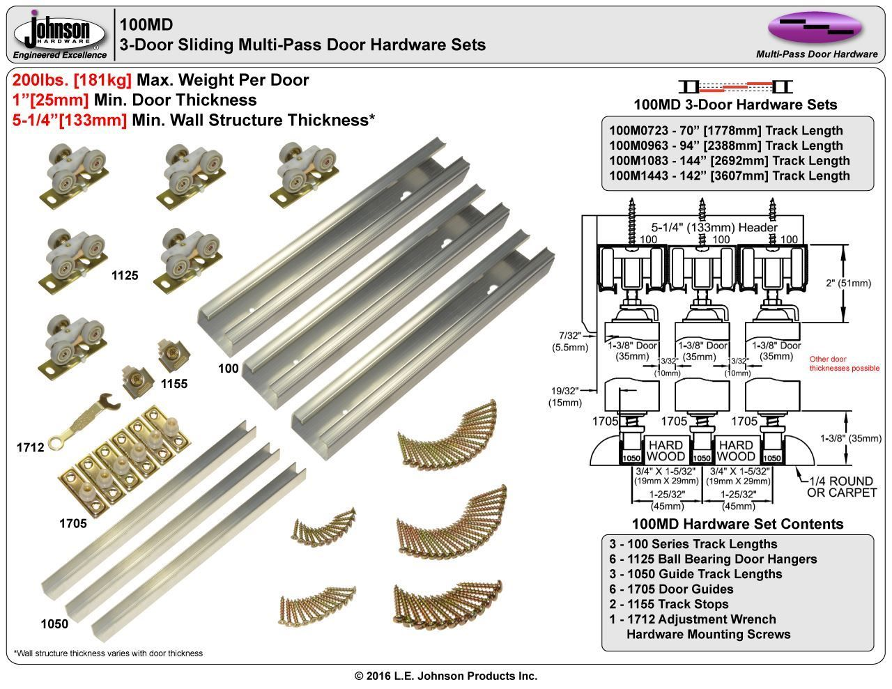 Picture Of 100md 24 3 Door Sliding Tri Pass Hardware Set Door Hardware Cabinet Door Hardware Sliding Door Hardware