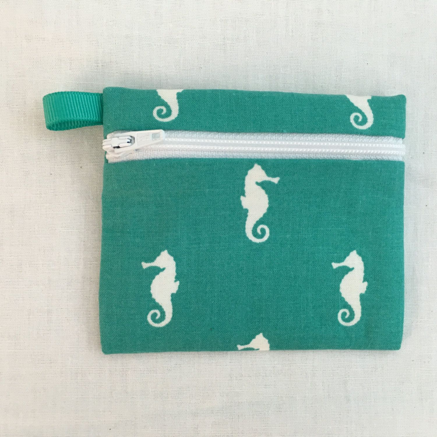 Teal Seahorse Zipper Coin Purse, Credit Card, Earbud , Music Player Pouch by…