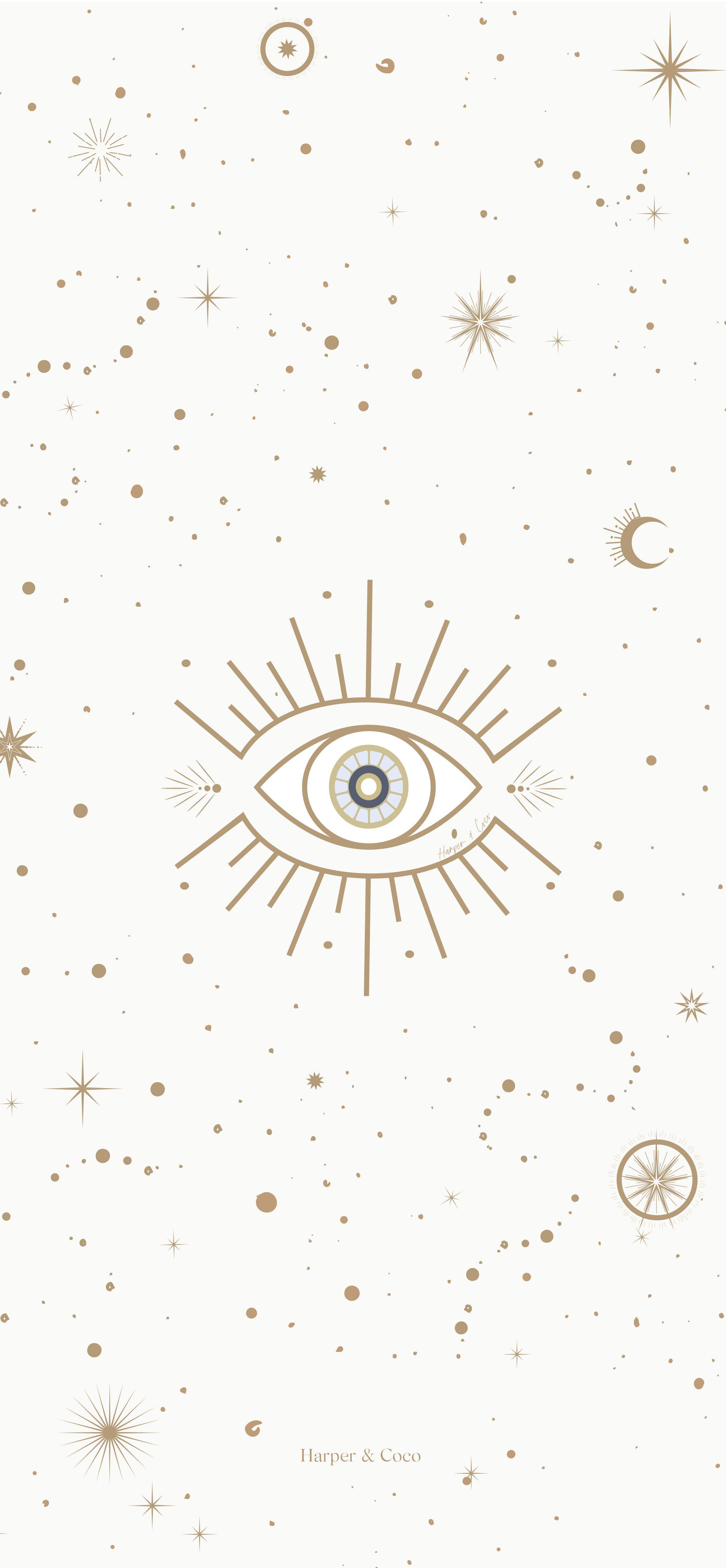 Evil eye beige and gold digital print, bohemian poster, neutral ...