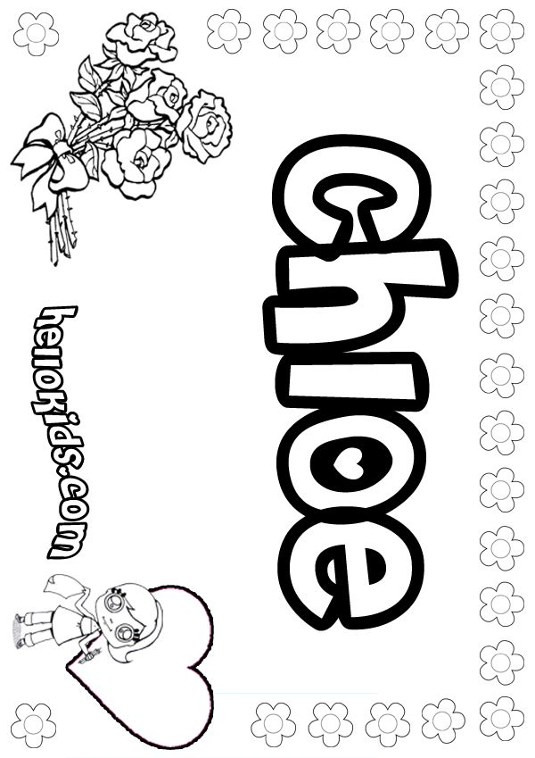 The Name Chloe Coloring Sheets Girls Name Coloring Pages