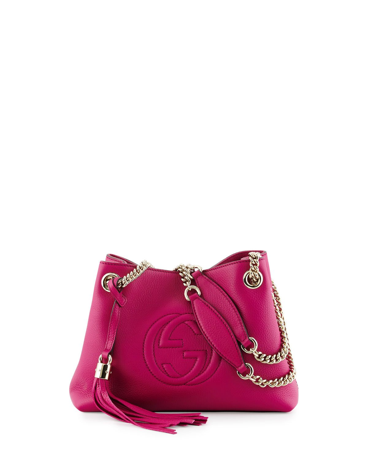 ba6eaa52094 Soho Small Leather Tote Bag w  Chain Straps Bright Pink