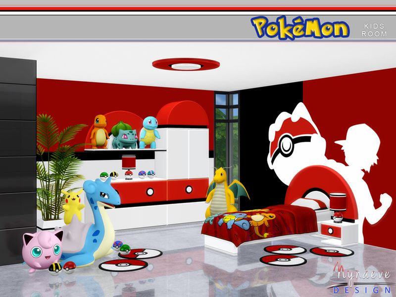 a pokemon themed lively kids room which incorporates playful design and fun furnishings found