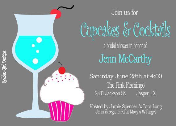 cupcakes cocktails weddingbridal shower invitation digital file only etsy