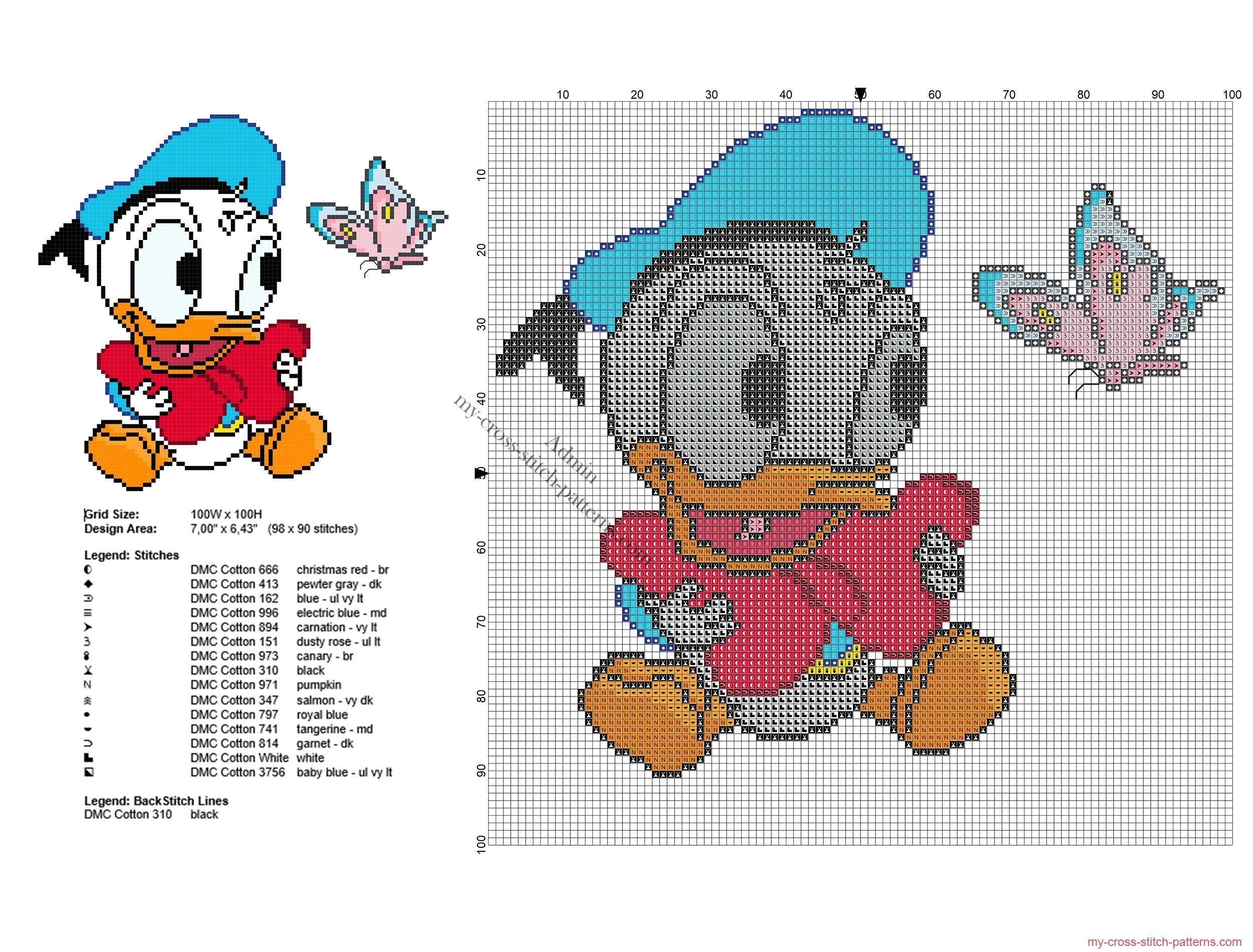 Disney Pato Donald baby con una mariposa patron punto de cruz | Para ...