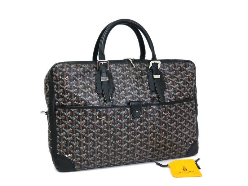 All #eLADY's items are inspected carefully by expert authenticators who have years of experience. #Goyard Ambassade Briefcase Canvas/Leather Black(BF062095)