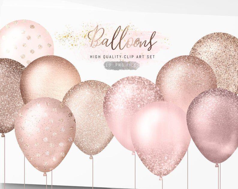 Rose Gold Balloons Clipart Glitter Balloons Clip Art Sparkle Etsy Rose Gold Balloons Gold Balloons Glitter Balloons