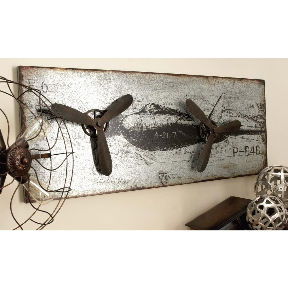 Litton Lane 46 In X 18 In Vintage Airplane Wall Art In Rustic Finish With 3d Accents 55512 The Home Depot Airplane Wall Decor Airplane Wall Art Vintage Airplane Wall Art