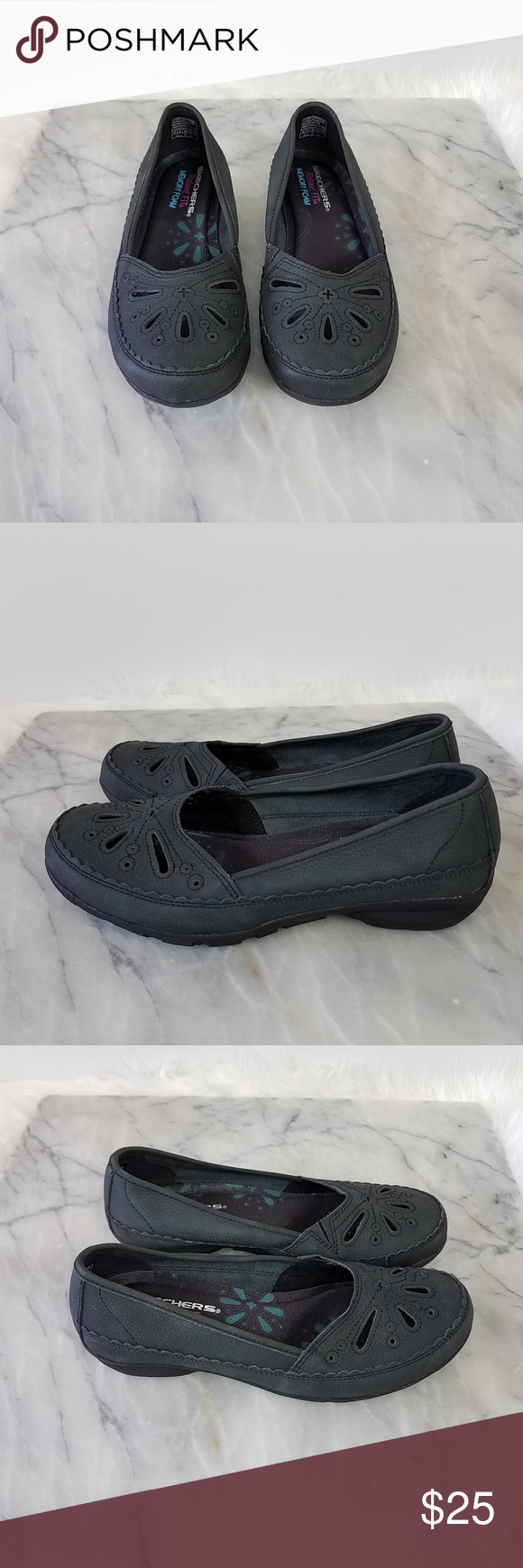 online zu verkaufen Mode-Design wie man serch Skechers Career Flower Power Flat Black Leather 6 Skechers ...