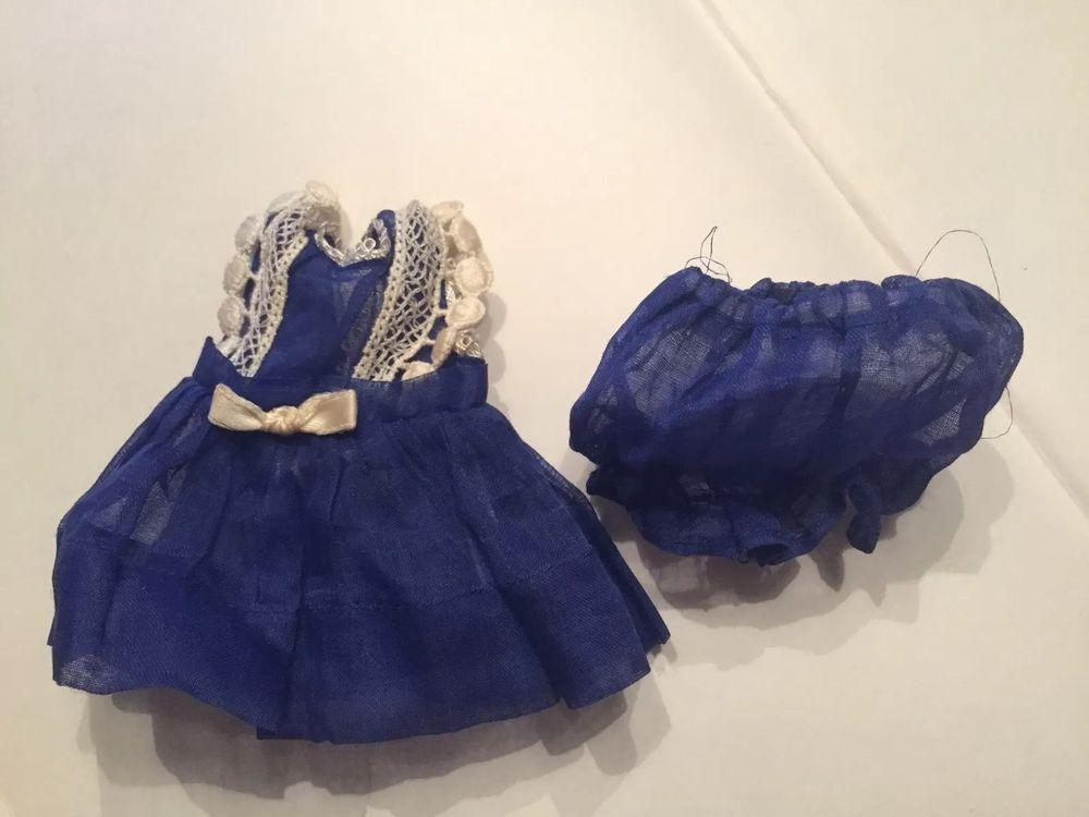 Vintage Ginny Vogue Dark Blue Organdy Kay #23 1952 Kindergarten Dress  Bloomers #Vogue