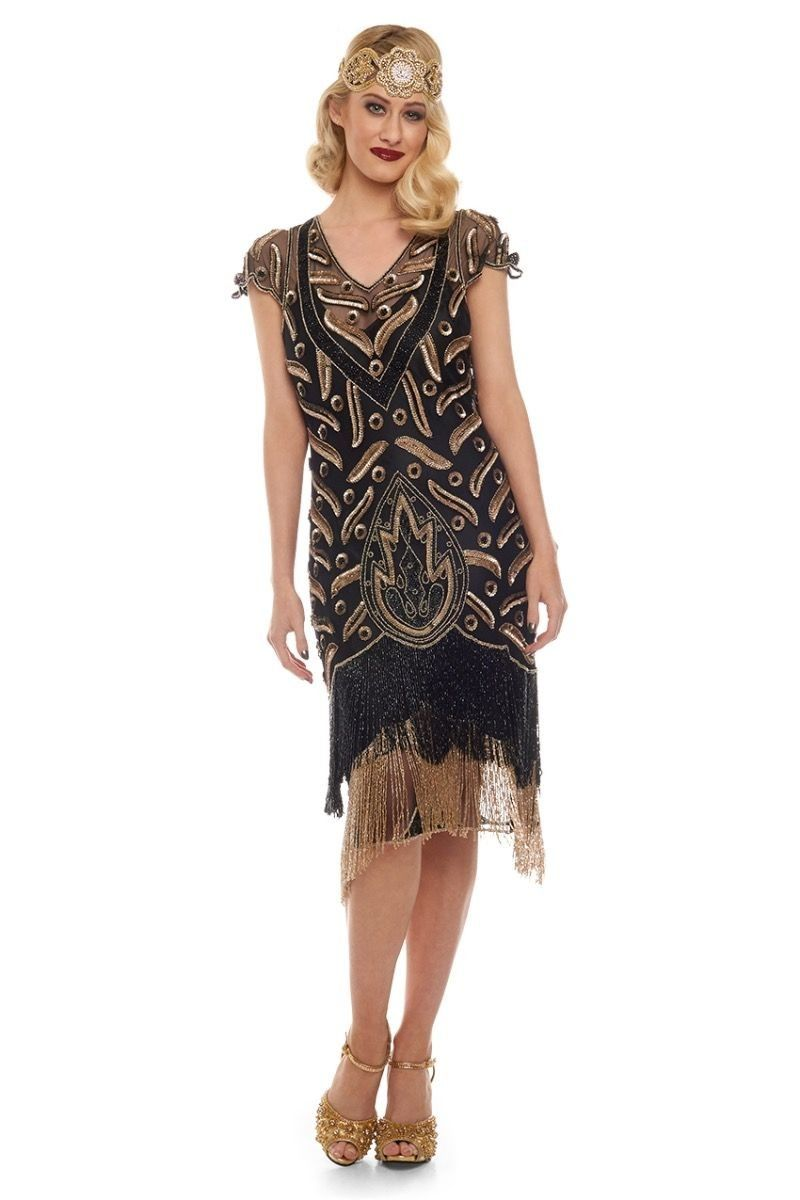 Art Deco Fringe Party Dress in Black Gold | Great Gatsby & Flapper ...
