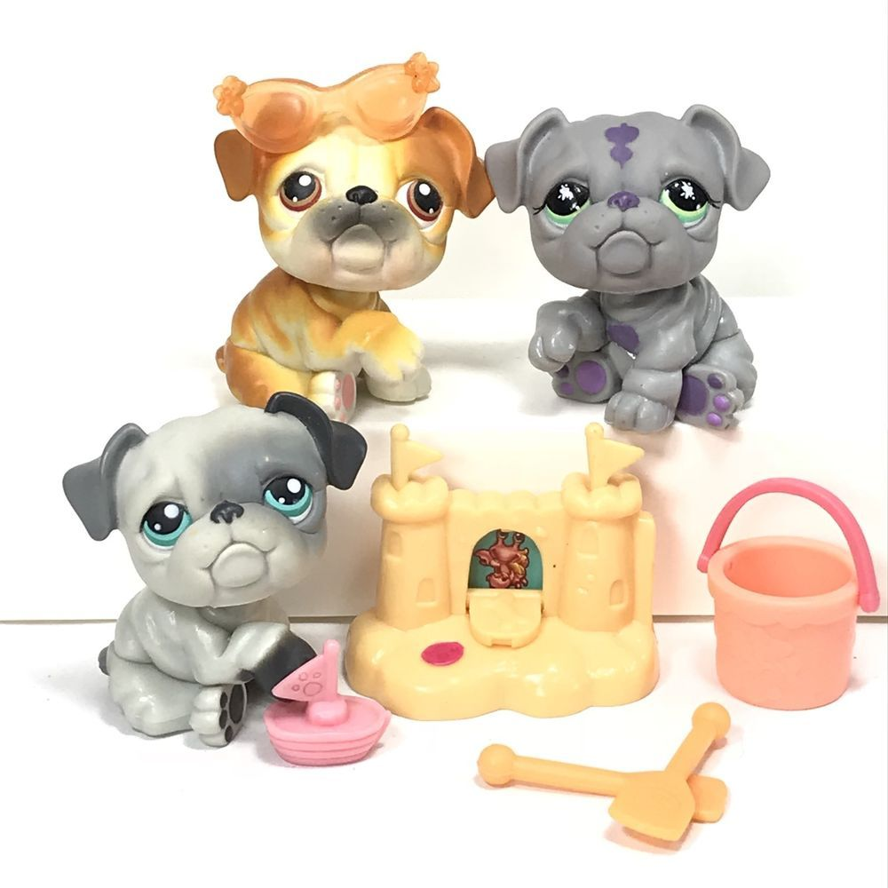 Littlest Pet Shop Lps Bulldog Beach Party Puppy Dog Lot Ebay