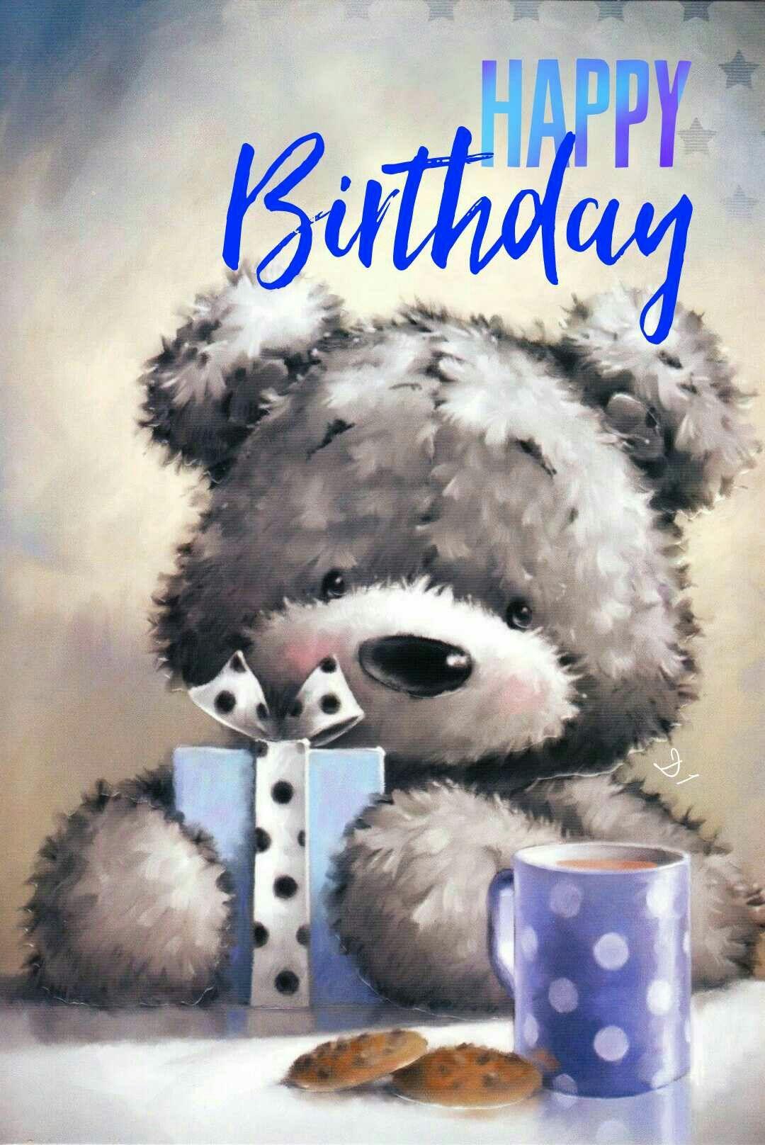 Carte Anniversaire Ourson.Happy Birthday Joyeux Anniversaire Teddy Bear Ourson Bleu