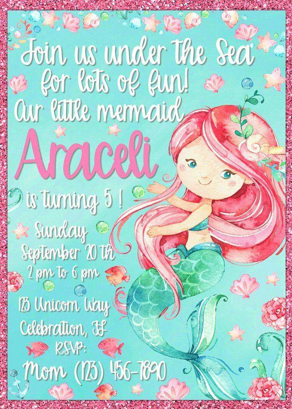 Personalized Watercolor Mermaid Birthday Invitation
