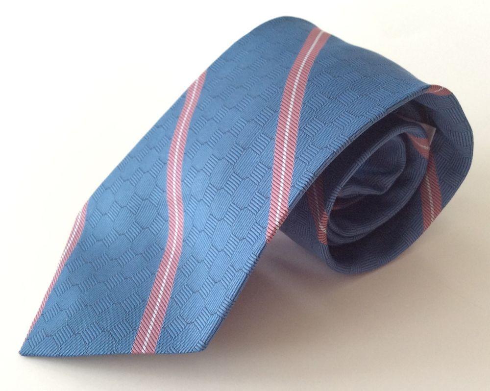 Van Heusen Bealls Neck Tie Blue Pink Gray Striped Polyester Silk Blend #VanHeusen #NeckTie