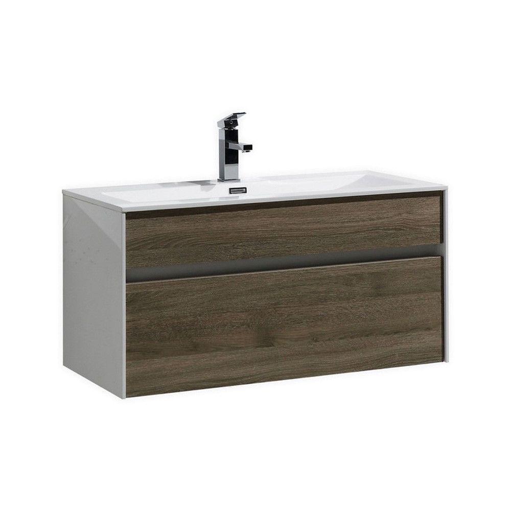 "Fitto 36"" Havana Oak Wall Mount Modern Bathroom Vanity"