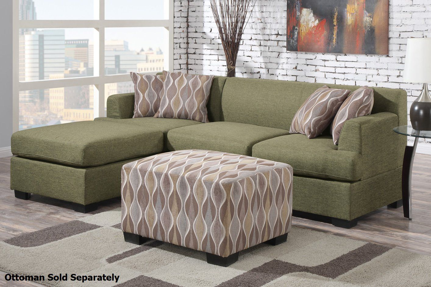 Green sectional sofa with chaise montreal ii green fabric ...