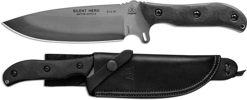 Tops Knives Silent Hero Knife Hero 02 Anton Du Plessis Black River Wash 1095 Steel Blade Black Micarta In 2020 Tops Knives Silent Hero Tops Knives Micarta