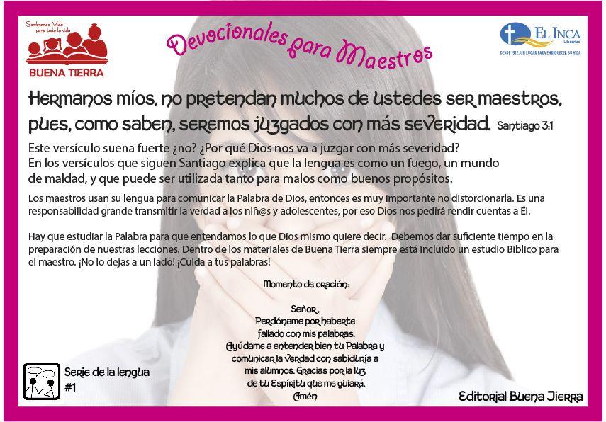 Una #devocionalparamaestros del la #escuela domincal, de Editorial Buena Tierra.
