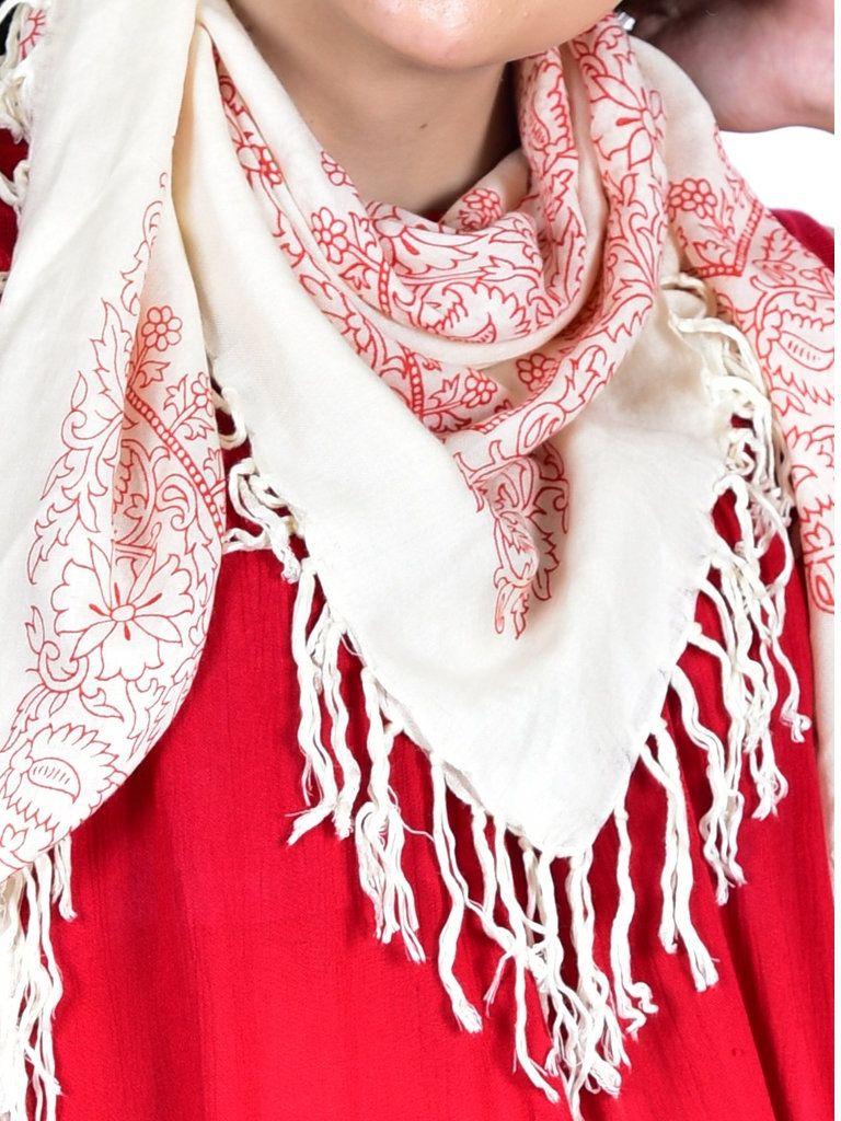 Red White Rayon Head Wrap Cowl Neck Wrap Indian Bandana