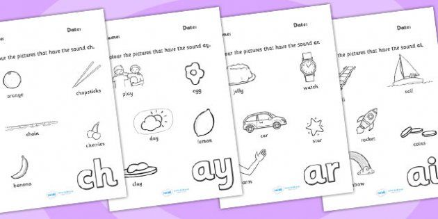 Digraph Colouring Worksheets | GRFS | Pinterest