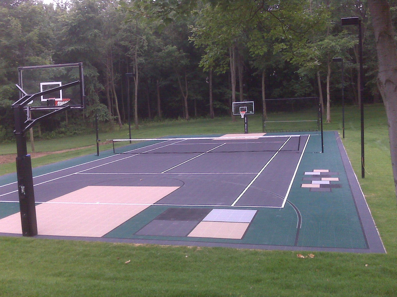 50x100 Multi Court This Court Design Offers 4 Square Hopscotch Shuffle Board Basketball Tennis Volleyball Badmi Backyard Court At Home Gym Sport Court