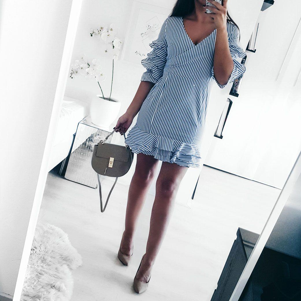 http://fashionstatementsbyq.com/2017/03/21/blue-ruffles/  #ruffle #dress #summer #summerdress #blue #bluedress #ootd #outfitinspo #heels #highheels #outfitinspo