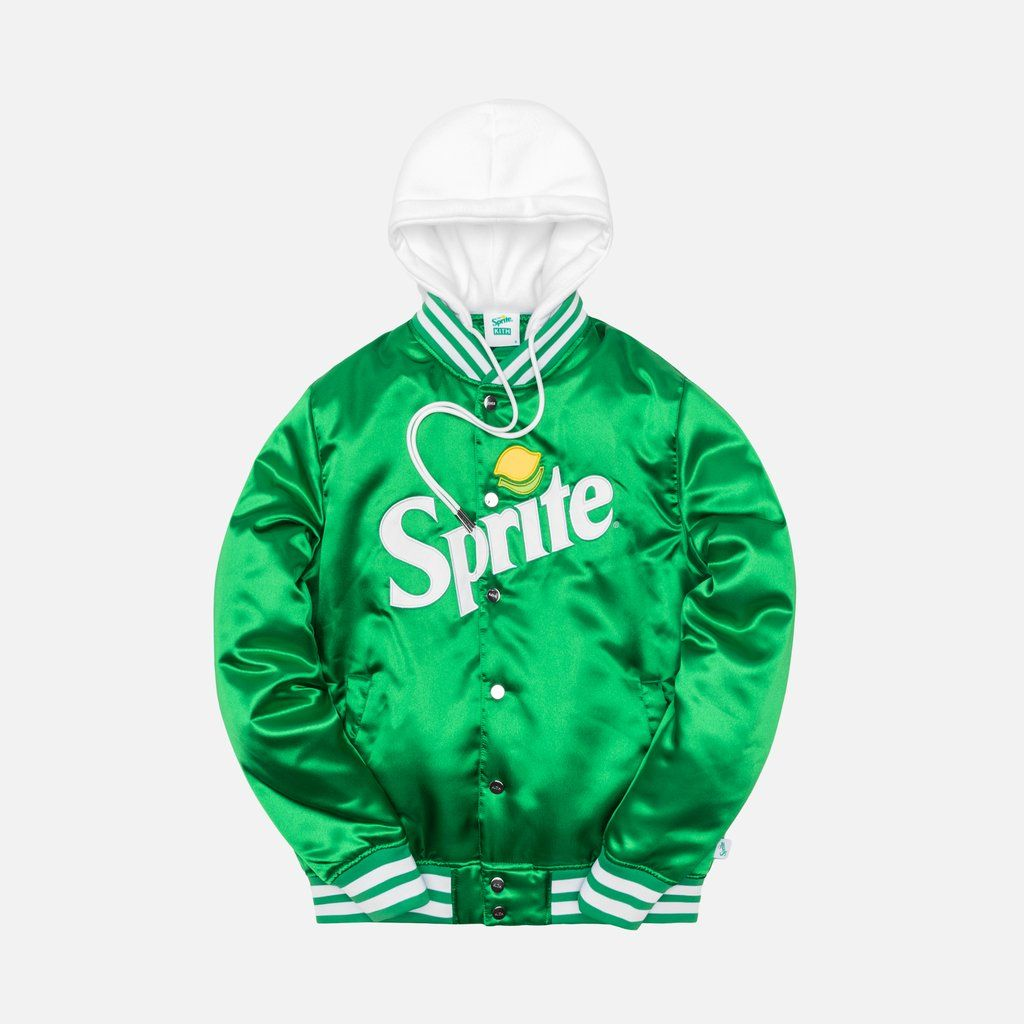 Poly Satin Fabric 320g Fleece Hood Inserted Into Neck 100g Polyfill Interior Kith And Sprite Satin Tackle Twill Applique Ki Varsity Jacket Jackets Green Jacket