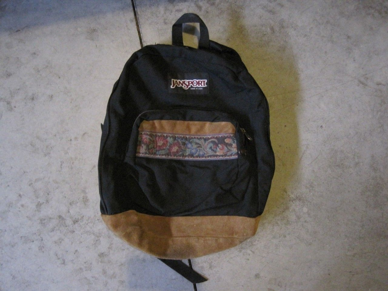 Vintage 1990's Jansport Backpack Floral Patch Suede Leather Bottom ...
