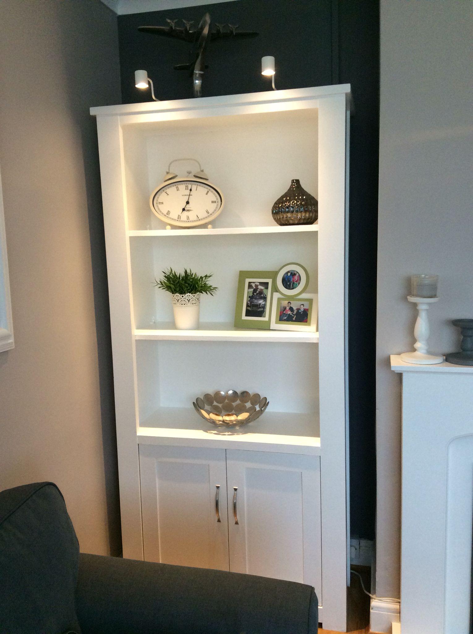 I Used High Gloss White Furniture Paint And Added Silver Handles IKEA Bookshelf Lights