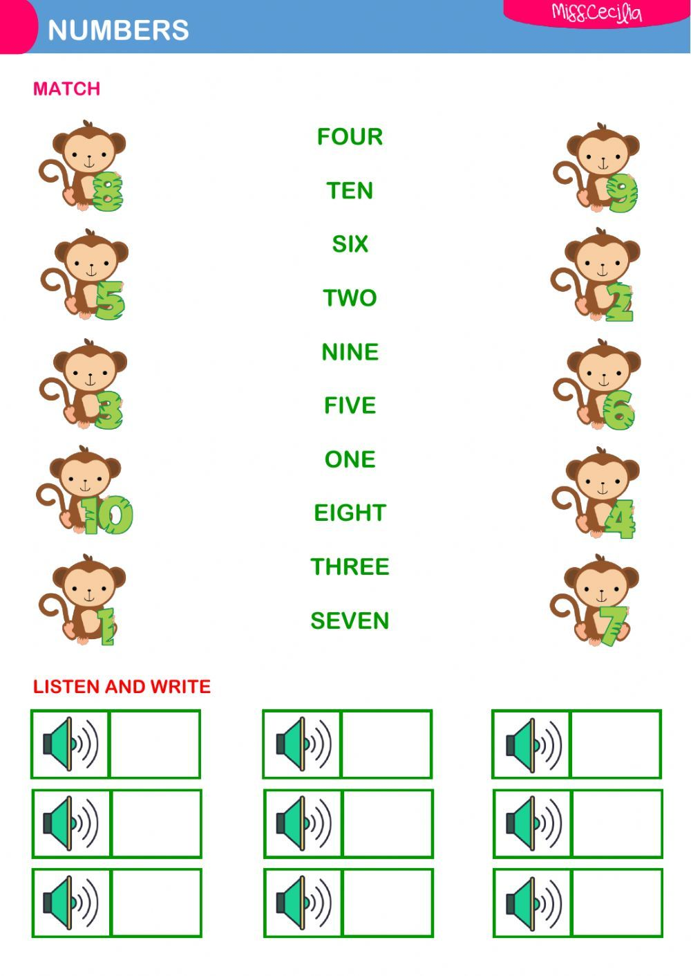 The Numbers Interactive And Downloadable Worksheet You Can Do The Exercises Online O English Worksheets For Kids Kids Math Worksheets Math Addition Worksheets