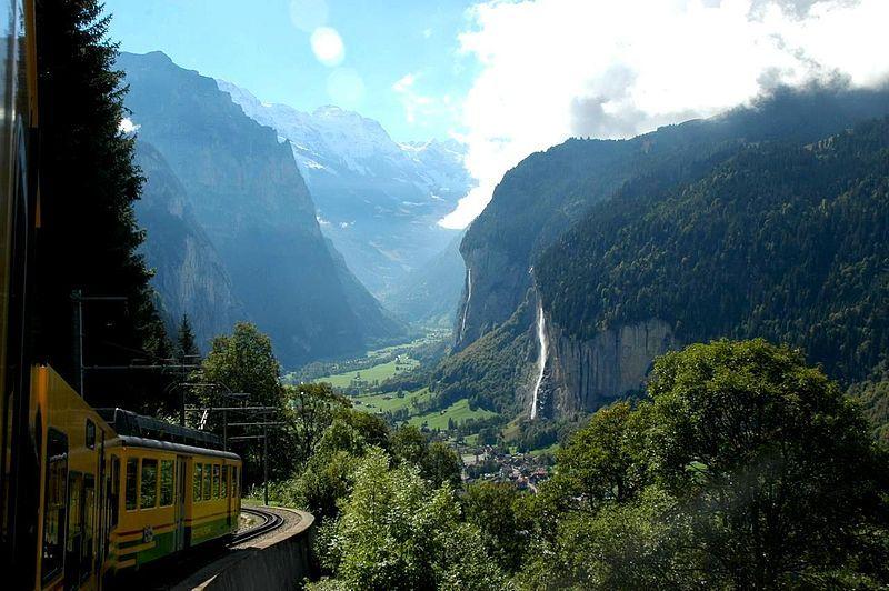 Lauterbrunnen Valley in the Bernese Alps, a deep U-shaped