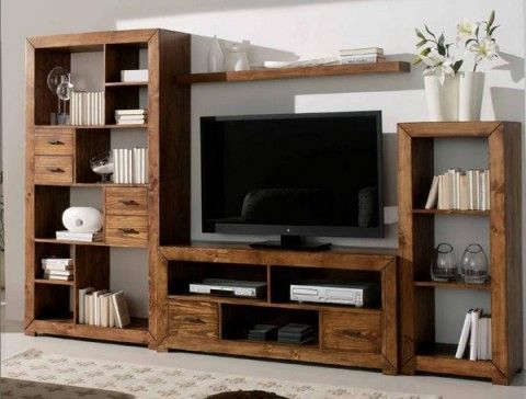 Muebles de madera para el interior tv muebles de - Muebles para el televisor ...