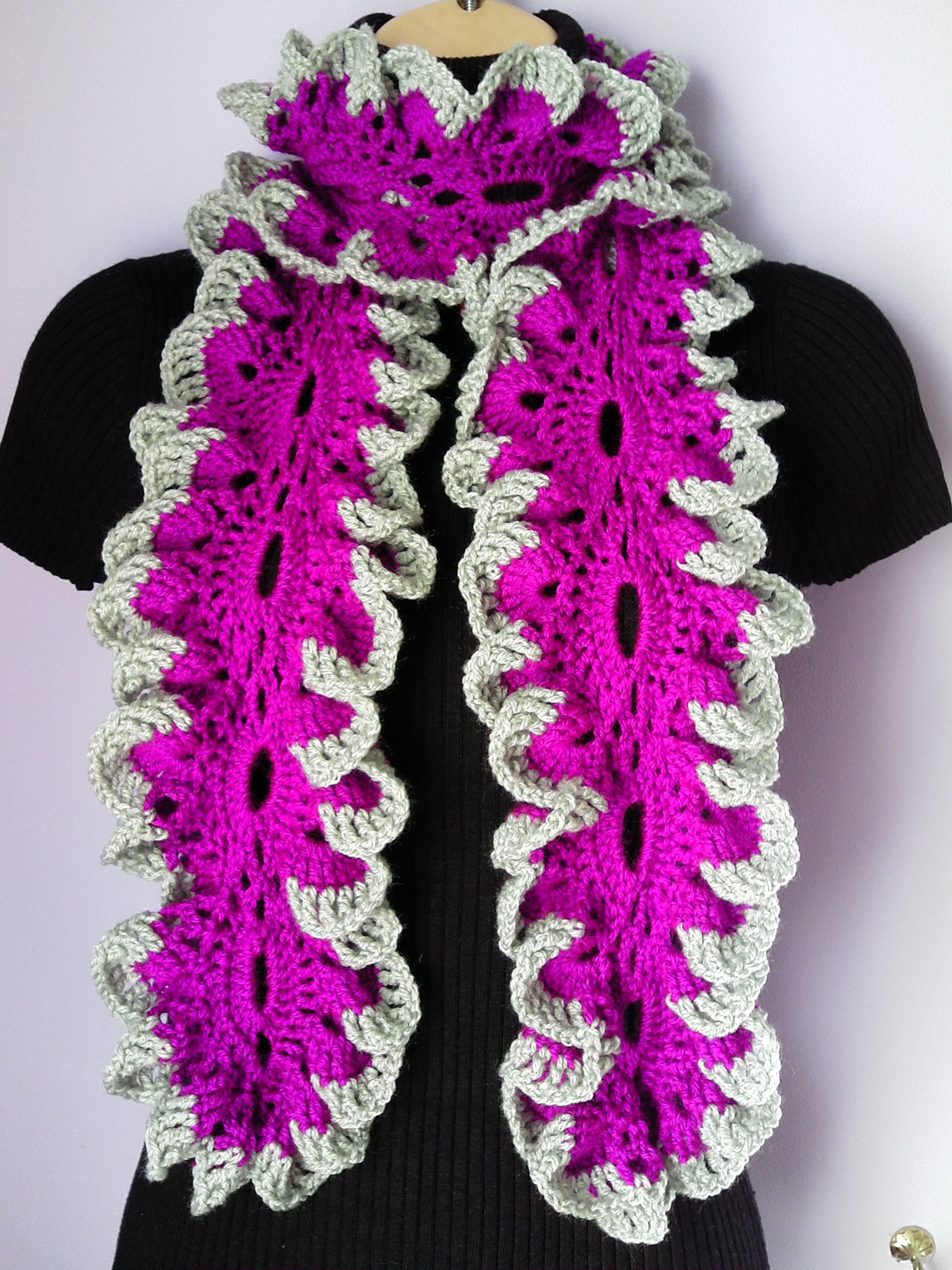 7f72b9a70c0 Crochet Scarf with Flower Brooch / Neckwarmer / Ruffle Scarf from ...