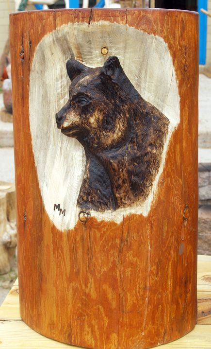 Relief carved bear on end table fun with wood wood carving