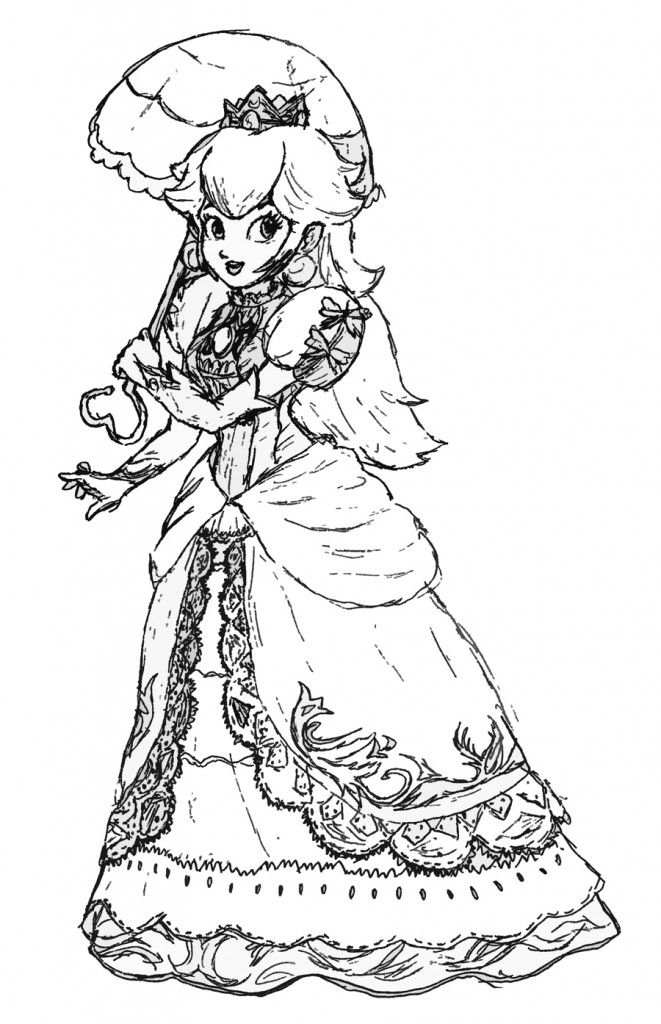 Free Princess Peach Coloring Pages For Kids Mario Coloring