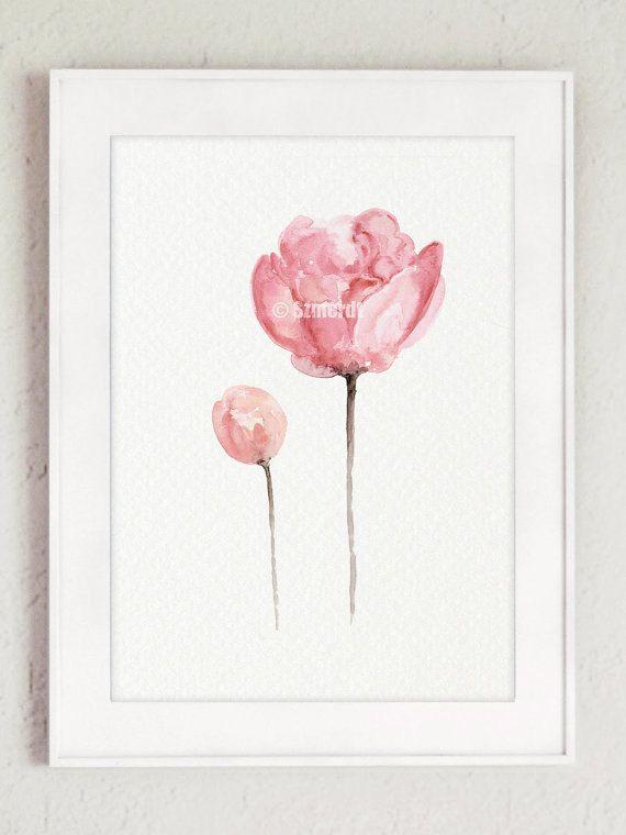 Peonía acuarela Shabby Chic hogar decoración conjunto de 3 flores ...