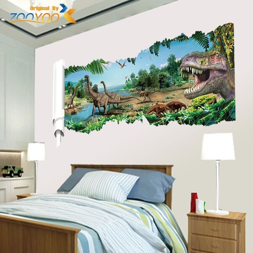 Jurassic world dinosaur scroll vinyl mural wall decals for Dinosaur mural ideas