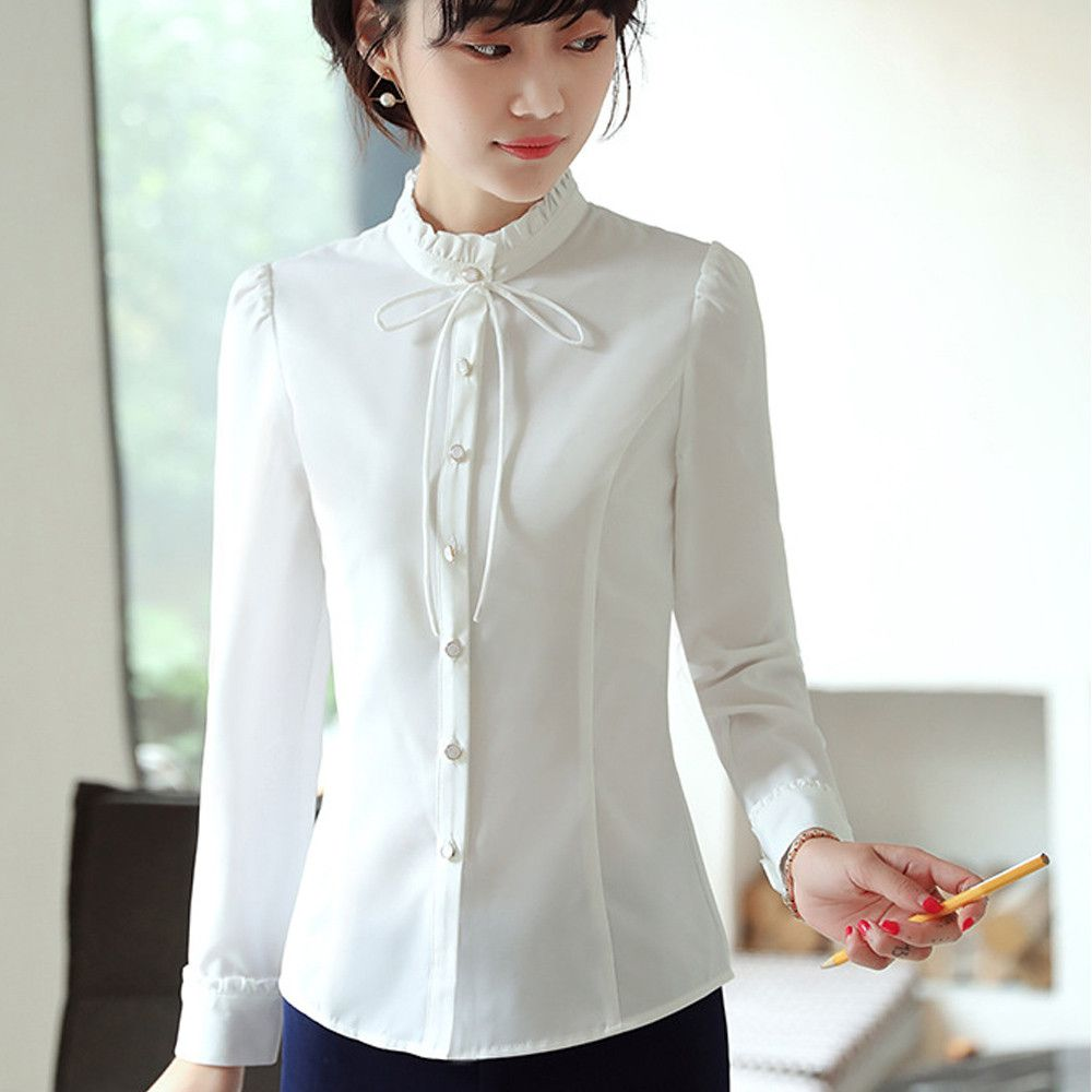 33f7fcc981e0d Elegance shirt women long sleeve Chiffon Blouse formal Women Tops Office  Lady Blusas Femininas Bow design