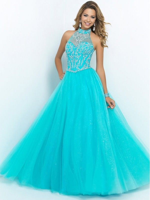 CYAN A LINE HALTER BEADED SLEEVELESS LOW BACK TULLE PROM DRESS ...