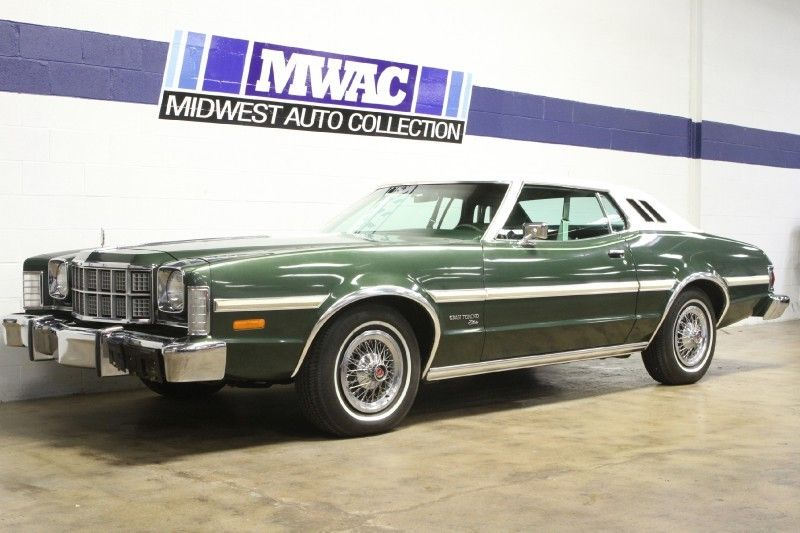 1974 Ford Gran Torino Elite In Dark Green Metallic With All Luxury Options Total Msrp In 7 American Classic Cars Concept Cars Vintage Classic Cars Trucks