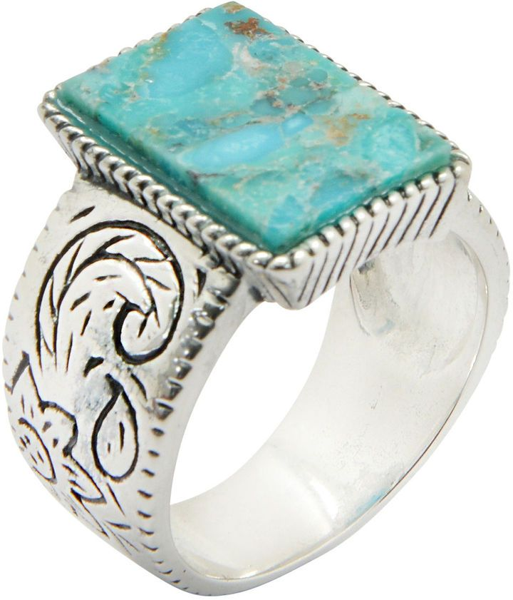Fine Jewelry Silver Elements By Barse Womens Blue Turquoise Sterling Silver Cocktail Ring 7yv8kg
