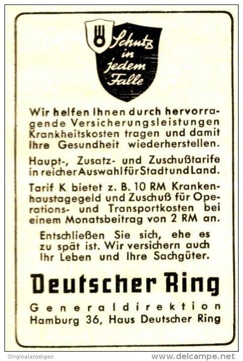 OriginalWerbung/ Anzeige 1943 DEUTSCHER RING ca. 45 x