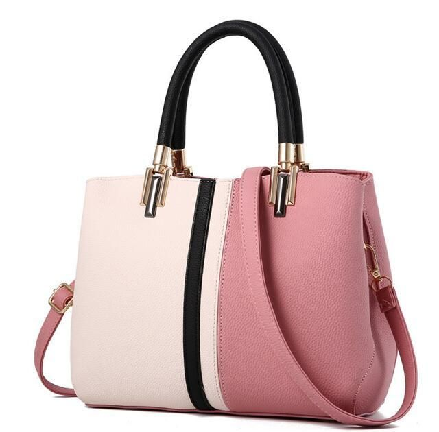 1c4199fba468 Women Tote Messenger Faux-Leather Handbag with Dual Colour and Retro S –  Leather Skin