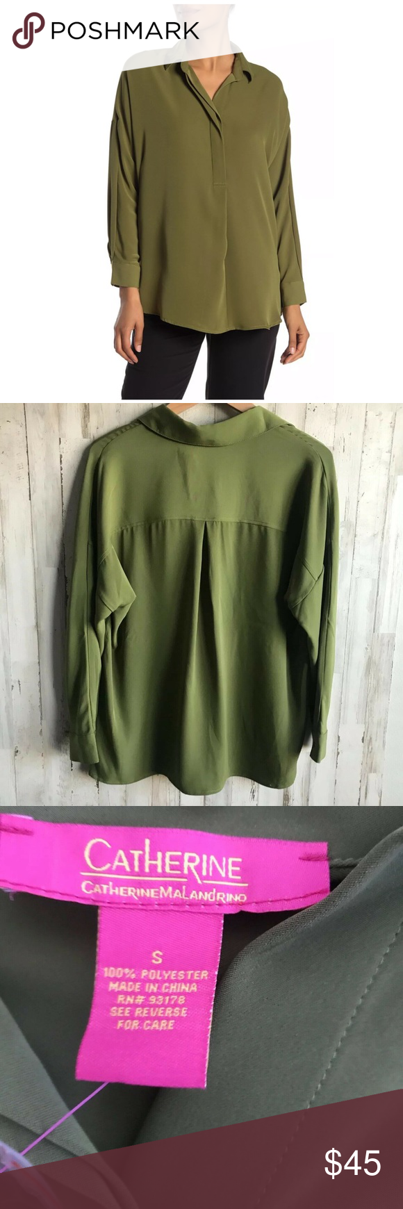 """Catherine Malandrino  Woven Top Long Sleeve, Half Button, Collared  Color: Wild Palm  Size: Small  Approximate Measurements: Pit to pit: 24"""" Length: 29""""  100% Polyester  New with tags Excellent condition  0289 Catherine Malandrino Tops Button Down Shirts"""