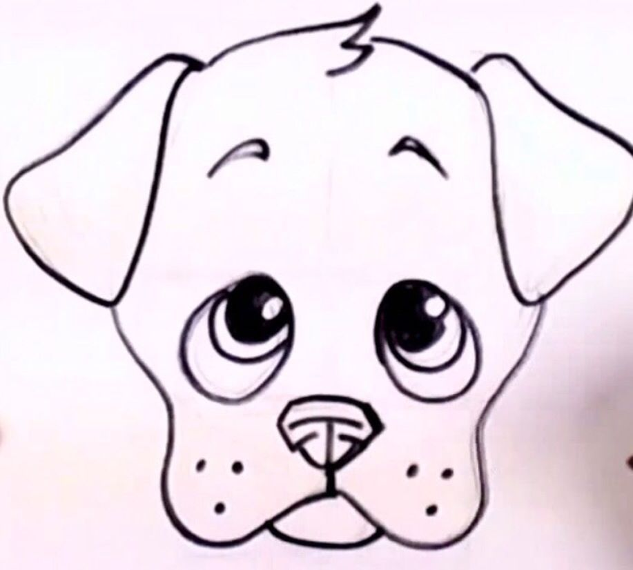 How To Draw A Cute Dog Face Easy Cute Dog Drawing Cute Dog