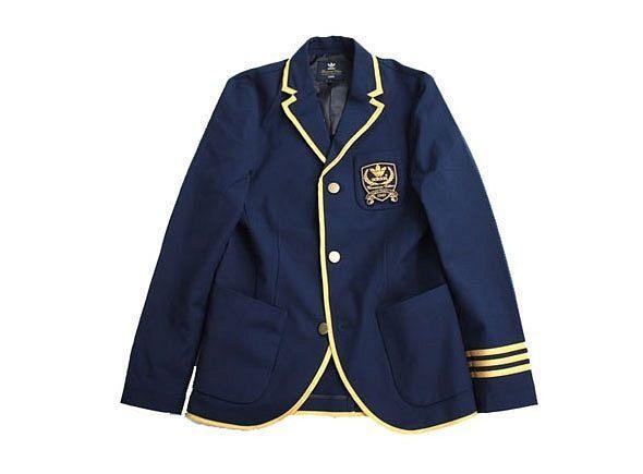Navy blazer with gold details