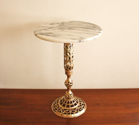 Vintage Marble Top Side Table With A Brass Base